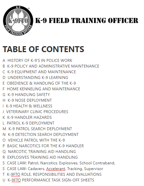 The Best K-9 Field Training Officer Online Certification Table of Contents