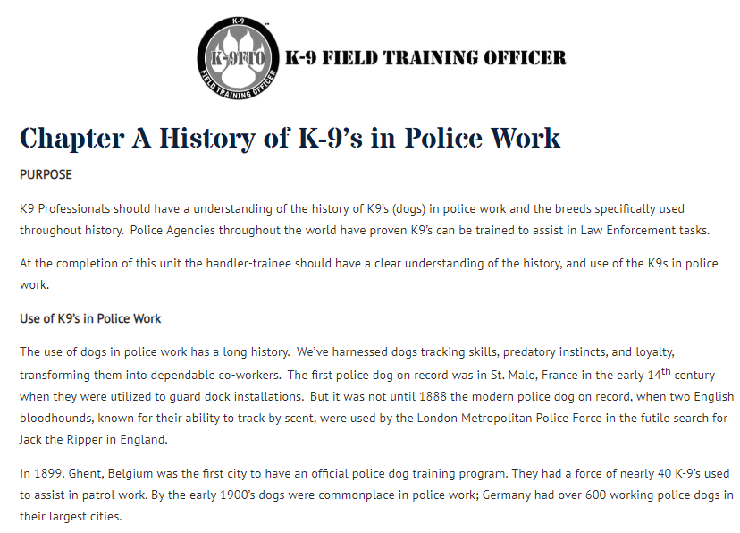 k-9 field training officer K-9 Field Training Officer Online Curriculum History of K-9s in Police Work
