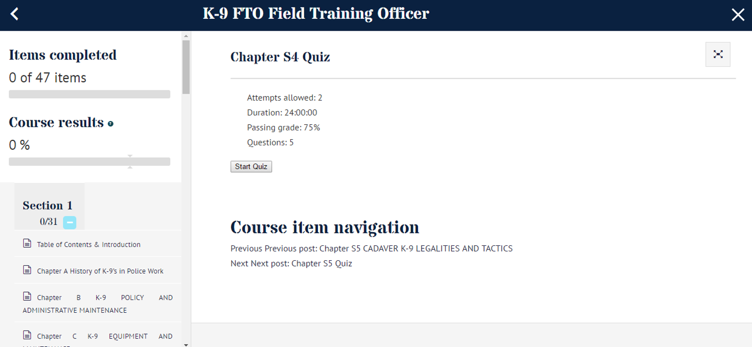 k-9 Field Training Officer Online Certification